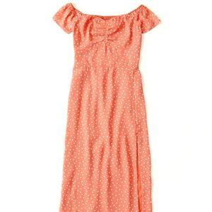 NEW ABERCROMBIE AND FITCH OFF SHOULDER MIDI DRESS